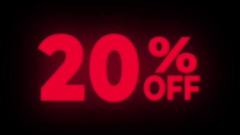 20% Percent Off Text Flickering Display Promotional Loop Live Action