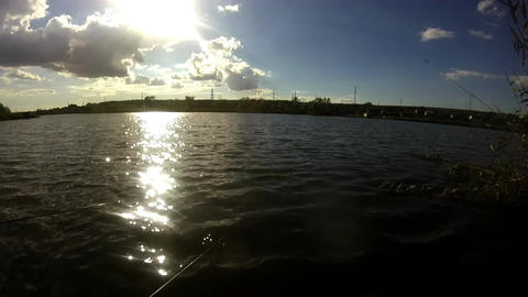 Fishing With Sun Glare River Background Footage