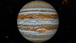 Jupiter against the background star map Animation