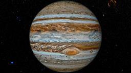 Jupiter against the background star map Animation