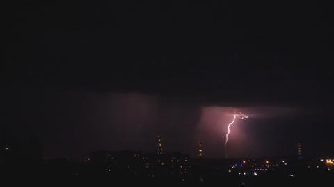 Thunderstorm over night city Footage