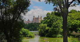 Establishing Shot of People in Rowboats on the Lake in Central Park Footage