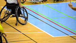 Personal foul shot in wheelchair basketball during a game Footage