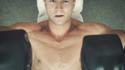 Bodybuilder do his barbells workout Footage