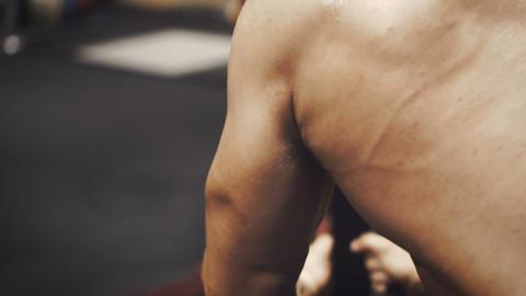 Bodybuilder do his back workout Footage