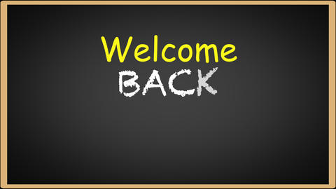 Welcome back to school writing on black chalkboard Stock Video Footage