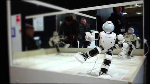 Lipetsk, Russian Federation - January 25, 2018: Exhibition of robots. Toy robot Live Action