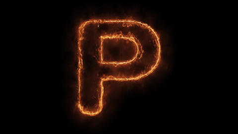 Alphabet P Word Hot Animated Burning Realistic Fire Flame Loop Live Action