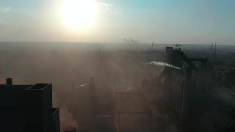 Aerial view. Pipes Throwing Smoke in the Sky. Environmental pollution concept Live Action