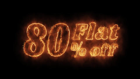 Flat 80% Percent Off Word Hot Animated Burning Realistic Fire Flame Loop Footage