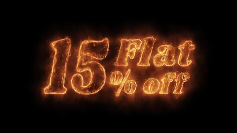 Flat 15% Percent Off Word Hot Animated Burning Realistic Fire Flame Loop Live Action