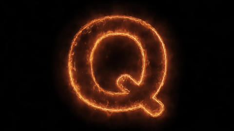 Alphabet Q Word Hot Animated Burning Realistic Fire Flame Loop Live Action