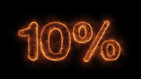 10% Percent Off Word Hot Animated Burning Realistic Fire Flame Loop Live Action