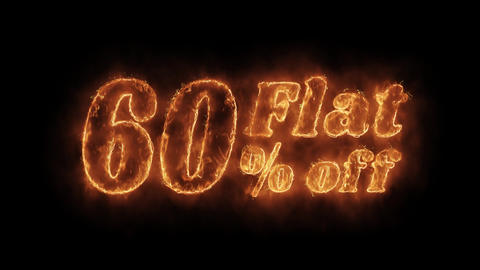 Flat 60% Percent Off Word Hot Animated Burning Realistic Fire Flame Loop Footage