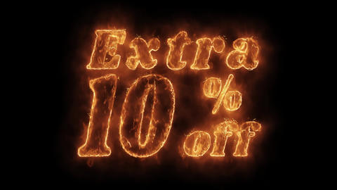 Extra 10% Percent Off Word Hot Animated Burning Realistic Fire Flame Loop Live Action