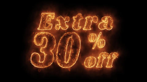 Extra 30% Percent Off Word Hot Animated Burning Realistic Fire Flame Loop Live Action