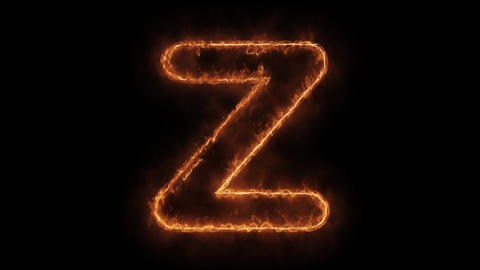 Alphabet Z Word Hot Animated Burning Realistic Fire Flame Loop Live Action