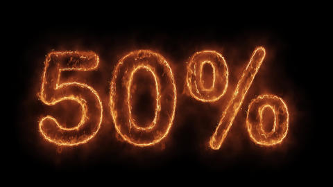 50% Percent Off Word Hot Animated Burning Realistic Fire Flame Loop Live Action