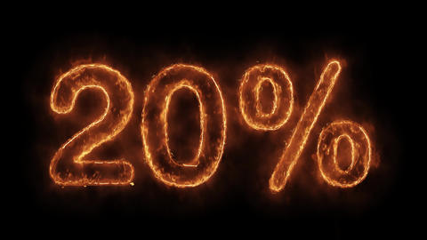 20% Percent Off Word Hot Animated Burning Realistic Fire Flame Loop Live Action