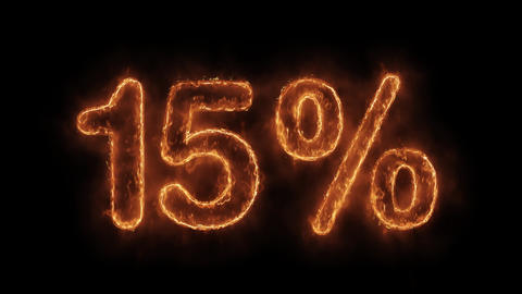 15% Percent Off Word Hot Animated Burning Realistic Fire Flame Loop Live Action