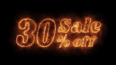 Sale 30% Percent Off Word Hot Animated Burning Realistic Fire Flame Loop Live Action