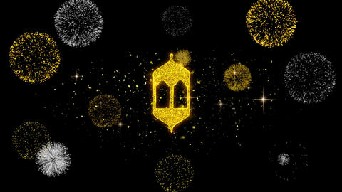 Islamic, islam, religious, Monument, Monuments Icon on Glitter Golden Particles Live Action