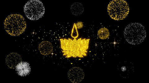 Religious symbol Ayyavazhi symbolism Icon on Glitter Golden Particles Firework Live Action