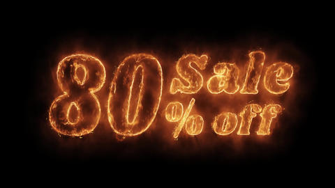 Sale 80% Percent Off Word Hot Animated Burning Realistic Fire Flame Loop Footage