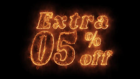Extra 05% Percent Off Word Hot Animated Burning Realistic Fire Flame Loop Live Action