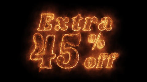 Extra 45% Percent Off Word Hot Animated Burning Realistic Fire Flame Loop Footage