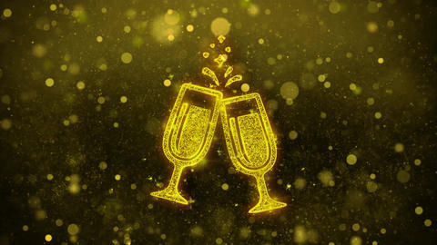 Cheers Celebration Toast Two Glasses Champagne Icon Golden Glitter Shine Footage