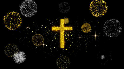 Church Cross Christianity Religion Icon on Glitter Golden Particles Firework Live Action