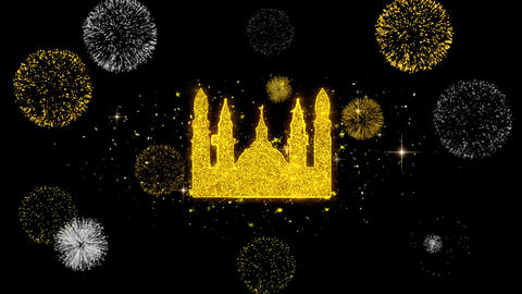 Islamic Icon, Mosque religious, muslim Icon on Glitter Golden Particles Firework Live Action