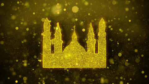 Islamic Icon, Mosque religious, muslim Icon Golden Glitter Shine Particles Live Action