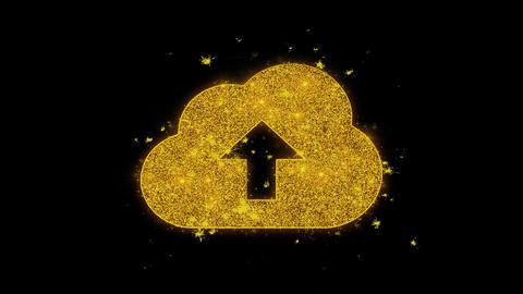 Cloud upload, cloud data, online storage Icon Sparks Particles on Black Live Action