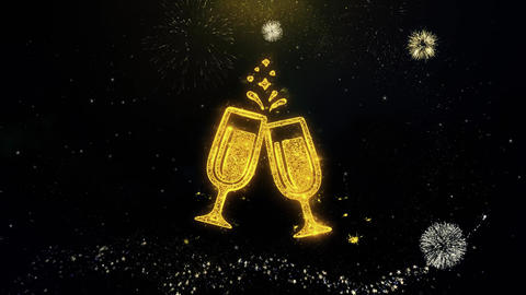 Cheers Celebration Toast Two Glasses Champagne Icon on Gold Particles Fireworks Footage