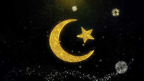 Star and Crescent symbol Islam religion Icon on Gold Particles Fireworks Display Live Action