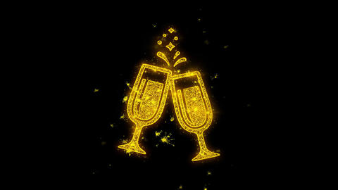 Cheers Celebration Toast Two Glasses Champagne Icon Sparks Particles on Black Footage