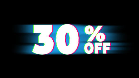 30% Percent Off Text Vintage Glitch Effect Promotion Footage