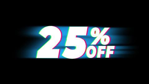 25% Percent Off Text Vintage Glitch Effect Promotion Live Action