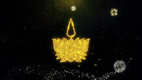 Religious symbol Ayyavazhi symbolism Icon on Gold Particles Fireworks Display Live Action