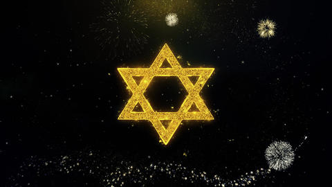 David The Jewish star Religion Icon on Gold Particles Fireworks Display Live Action