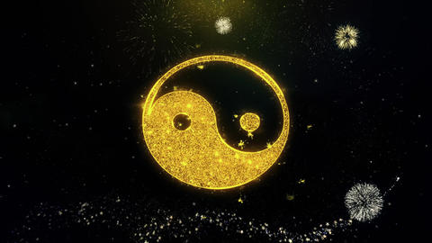 Yin Yang Taoism buddhism daoism religion Icon on Gold Particles Fireworks Live Action