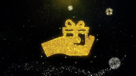 Birthday, box, gift, gift box, hand, give Icon on Gold Particles Fireworks Live Action