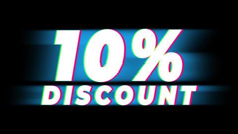 10% Percent Discount Text Vintage Glitch Effect Promotion Live Action