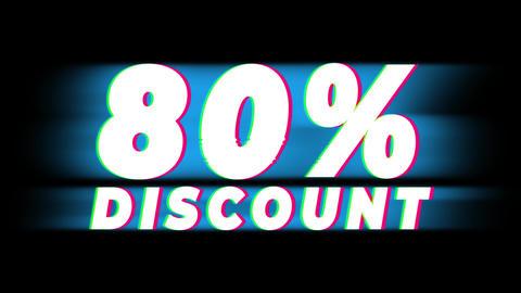 80% Percent Discount Text Vintage Glitch Effect Promotion Live Action