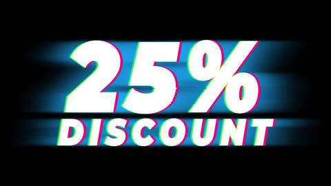 25% Percent Discount Text Vintage Glitch Effect Promotion Live Action