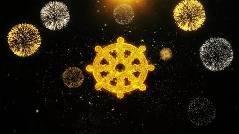 Wheel of Dharma Buddhism religion Icon on Firework Display Explosion Particles Live Action
