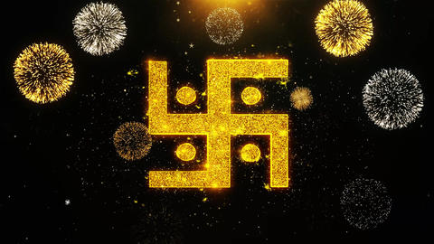 Hindu, holy, indian, religion, swastika, swastika Icon on Firework Display Live Action