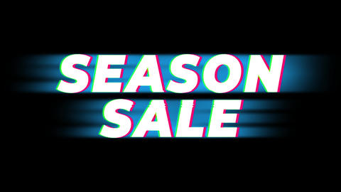 Season Sale Text Vintage Glitch Effect Promotion Footage